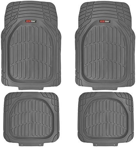 Motor Trend MT-921-GR FlexTough Tortoise – Heavy Duty Rubber Floor Mats for Car SUV Van & Truck – All Weather Protection – Deep Dish (Gray)