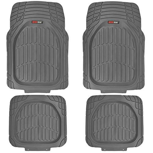 All Weather Heavy Duty Rubber - Motor Trend FlexTough Tortoise - Heavy Duty Rubber Floor Mats for Car SUV Van & Truck - All Weather Protection - Deep Dish (Gray)