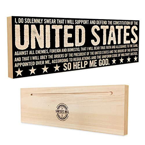 (Sawyer's Mill | Oath of Enlistment - Handmade Wood Sign - 4 in x 12 in x 3/4 in Thick - Solid Hardwood)