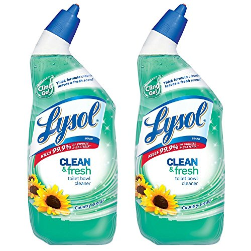 Lysol Power & Fresh Cling Toilet Bowl Cleaner, Country Scent, 24 Fl Oz, Pack of 2