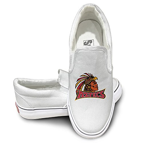 [PTCY San Diego State University Aztecs Oxford Unisex Flat Canvas Shoes Sneaker 35 White] (Dora Diego And Boots)