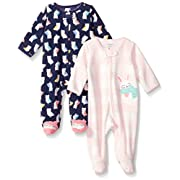 Carter's Baby Girls' 2-Pack Microfleece Sleep and Play, Navy Owl/Bunny, Newborn