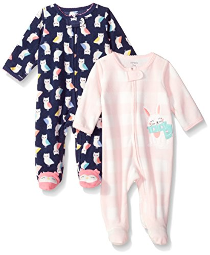 Carter's Baby Girls' 2-Pack Microfleece Sleep and Play, Navy Owl/Bunny, 3 Months