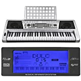 AW 61 Key LCD MIDI Silver Electric Keyboard Music Digital 37x14x5'' Personal Electronic Piano w/Manual
