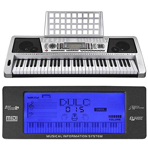 "AW 61 Key LCD MIDI Silver Electric Keyboard Music Digital 37x14x5"" Personal Electronic Piano w/ Manual"