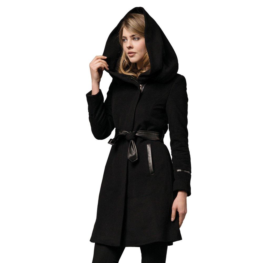 Zareen Women's Wool Coat with Oversized Hood (Medium)