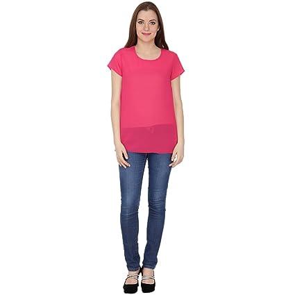 Kaaya Casual Half Sleeve Solid Women's Top_Pink