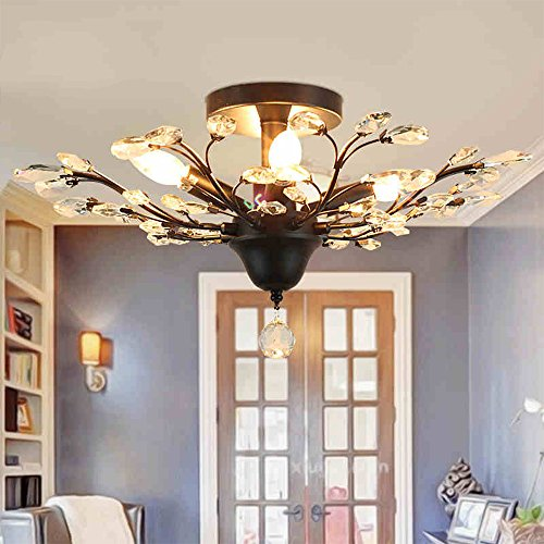 Injuicy Lighting Vintage Crystal Metal Edison Branches Led Ceiling Lights Fixtures Retro Wrought Iron French Villa Lamp Shade For Living Room
