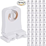 Non-shunted Turn Type T8 Lamp Holder 50-Pack UL Socket Tombstone for LED Fluorescent Tube Replacements Medium Bi-pin Socket for Programmed Start Ballasts
