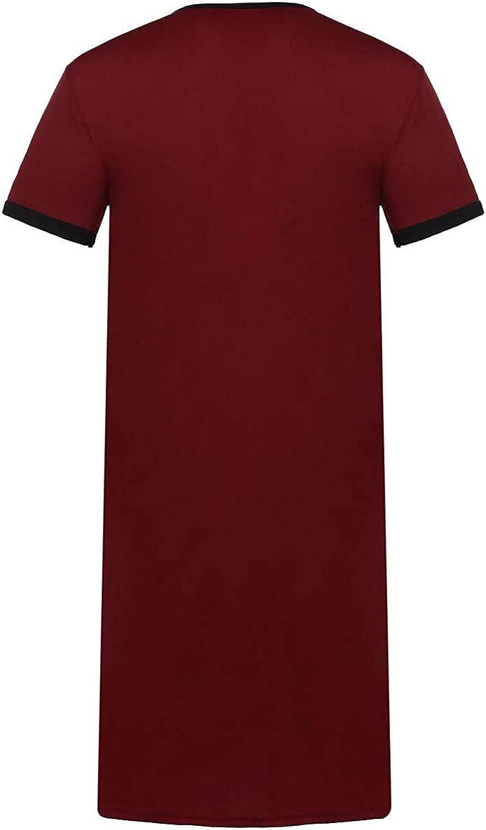 QILINXUAN Mens Nightshirts V Neck Cotton Sleepwear Short Sleeve Big/&Tall Sleeping Shirt Comfy Loose Nightwear