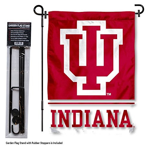 - College Flags and Banners Co. Indiana Hoosiers Garden Flag with Stand Holder