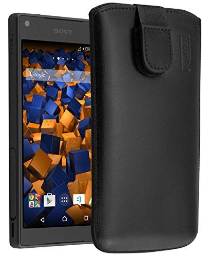 mumbi ECHT Ledertasche Sony Xperia Z5 Compact Tasche Leder Etui (Lasche mit Rückzugfunktion Ausziehhilfe)