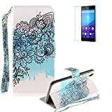 Sony Xperia Z3 Strap Case with Free Screen Protector,Funyye Colourful Print PU Leather Wallet Stand Full Body Protection Case Cover Skin - Black Flower