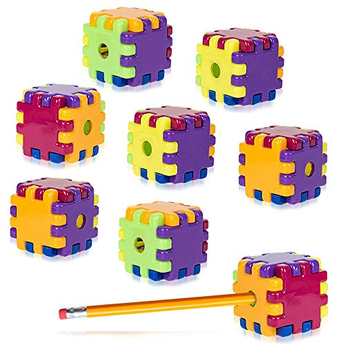 ArtCreativity Puzzle Cube Pencil Sharpeners for Kids, Pack of 24, Fun School Supplies for Boys and Girls, Cool Stationery Birthday Party Favors, Classroom Teacher Rewards and Prizes