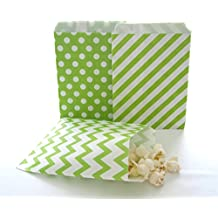 Green Gift Bags, Christmas Candy Bags, Small Party Favor Bags, Candy Bag Ideas, 75 Pack - Green Striped, Polka Dot & Chevron Bags