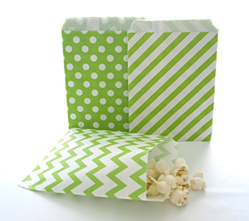 Green Gift Bags, Christmas Candy Bags, Small Party Favor Bags, Candy Bag Ideas, 75 Pack - Green Striped, Polka Dot & Chevron Bags Christmas Pinatas For Sale