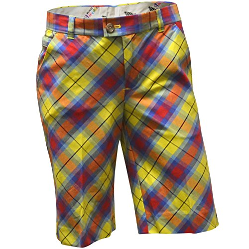 Royal & Awesome Women's Golf Shorts, Plaid Awesome, US 2/UK 6 ()
