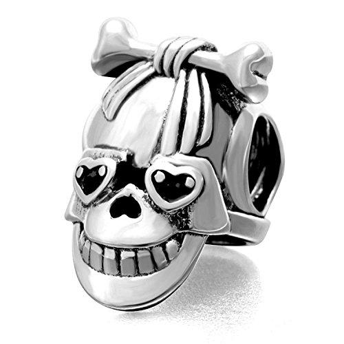 XingYue Jewelry Dia De Los Muertos Skull 925 Sterling Silver Charm Beads,Dog Bone Bead Charm for Bracelet ()
