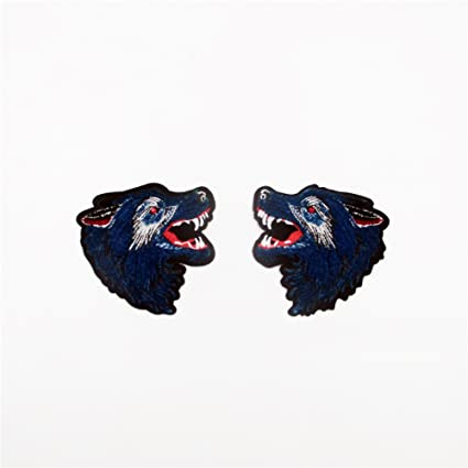 9399728d1e11b Amazon.com: 2Pcs/Pair Animal Wolf Head Patches for Clothes Iron on ...