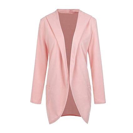 Qiusa Womens Wool Hooded Thin Coat Suelta Casual Hoodies Chaqueta Rompevientos (Color : Rosado,