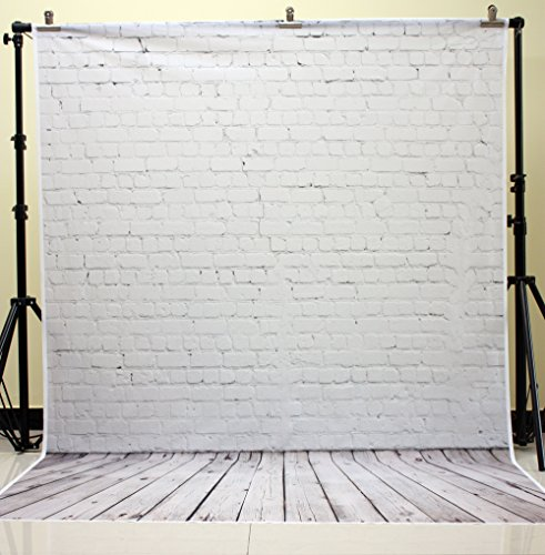 HUAYI 5X7ft White Brick Wall With Gray Wooden Floor Photography Vinyl Backdrop D-2504