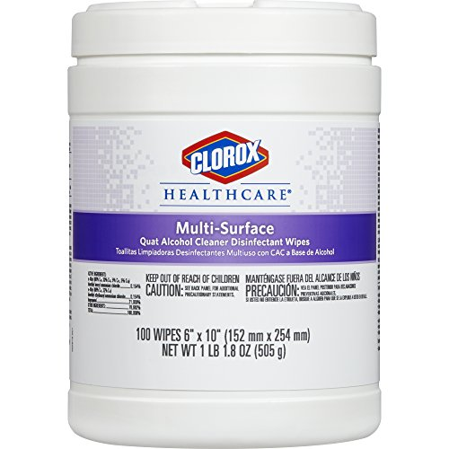 (Clorox Healthcare Multi-Surface Quat Alcohol Cleaner Disinfectant Wipes, 100 Count Canister (Pack of 12))