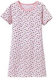 Zegoo Girls Short Sleeve Crew Neck Pink White Sleep Dress Nightgown
