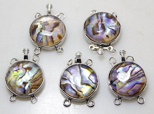 5pcs 2rows 20mm natural abalone paua shell gem metal clasp fashion jewelry