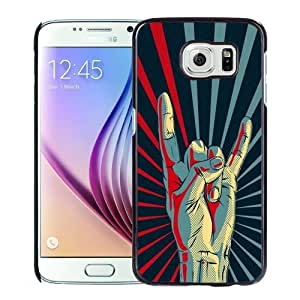 NEW Unique Custom Designed S6 Phone Case With Rock Hand Gesture Sign_Black Phone Case