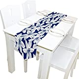 ALAZA Table Runner Home Decor, Navy Tropical Hibiscus Floral Table Cloth Runner Coffee Mat for Wedding Party Banquet Decoration 13 x 90 inches