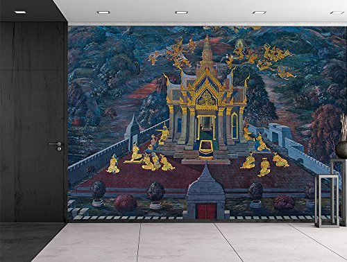 Wat Phra Kaew temple fresco Bangkok Thailand Painted wall decor Gold leaf Wall Mural