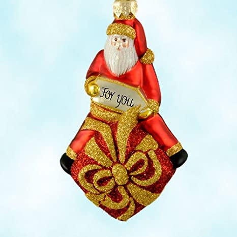 Amazon Com Patricia Breen Christmas Ornaments For You Henry Red 2000 2013 Santa Sits On Glittered Red Box With Gold Ribbon Home Kitchen
