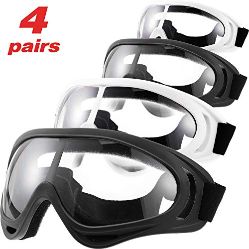 4 Pairs Protective Goggles Safety Glasses Eyewear Face Mask for Teens Game Battle (Black, White)