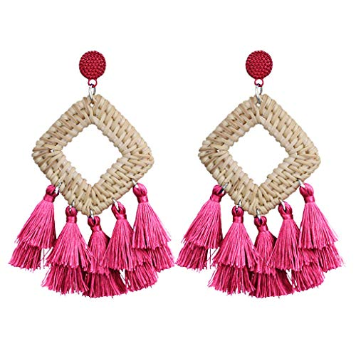 Dangling Tourmaline Earrings - Best valentine's day gift!!!Kay Cowper Bohemian Retro Handmade Rattan Woven Tassel Earrings Ladies Jewelry