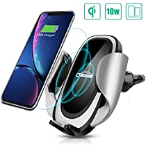 Wireless Car Charger Oasser Air Vent Phone Holder Car Mount Fast Charge with Adjustable Coil 10W for Samsung S8/S7/S7 Edge, Note 8/5 and Standard Charge for iPhone X/XS/8/8P&Qi Enabled Device M1