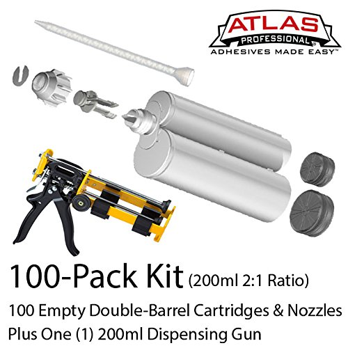 Atlas Pro 200ml-6.8oz Empty 2:1 Ratio Dual-Barrel Cartridge kit with gun & nozzles-100-Pack by Atlas