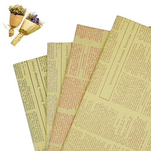 20 Sheets Packing Decorating Paper Craft Kraft Paper Retro Newspaper Newsprint Paper With 4 Colors For Decorating  53Cm X 75Cm