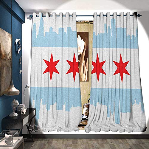 - Thermal Insulating Blackout Curtain City of Chicago Flag with High Rise Buildings Scenery National Decor Curtains by W96 x L108 Red White Baby Blue