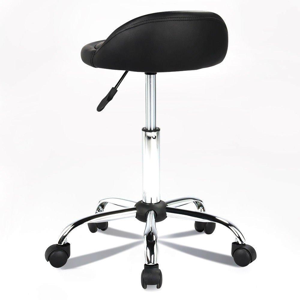 New Rolling Hydraulic Bar Stool Salon Barber Chair Spa Stool Pedicure / Manicure Nail Technician Massage Equipment | Black by Eosphorus (Image #2)