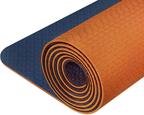 IUGA Non Slip Yoga Mat, Free Yoga Bag & Carry Strap, Eco Friendly & SGS Certified TPE material – Odorless, Non Slip, Durable Lightweight, Dual Color Design, Thickness ¼ Inch