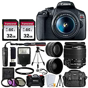 """Canon EOS Rebel T7 DSLR Camera + EF-S 18-55mm f 3.5-5.6 is II Lens + 58mm 2X Professional Telephoto & 58mm Wide Angle Lens + 64GB Memory Card + DC59 Case + 60"""" Tripod + Slave Flash + UV Filters"""