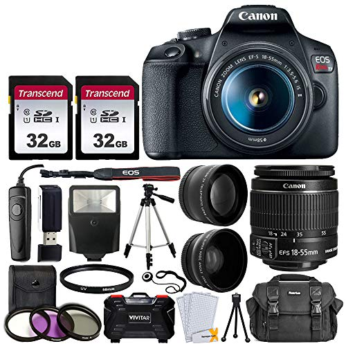 Canon EOS Rebel T7 Digital SLR Camera with 18-55mm EF-S f/3.5-5.6 is II Lens + 58mm Wide Angle Lens + 2X Telephoto Lens…