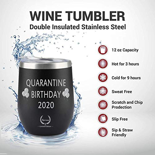 Quarantine Birthday Gifts,2020 Funny Novelty Wine glass Personalized Present for Women, Men, Coworkers, Friends – Vacuum…