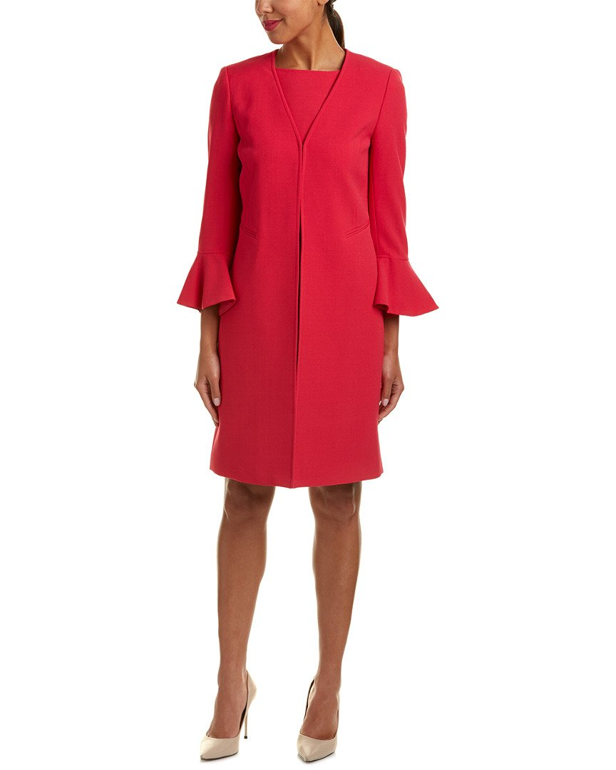Tahari ASL Women's Crepe Jacket Dress w/Tulip Sleeve Fuchsia 8