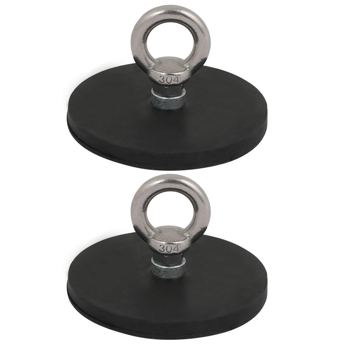 uxcell 2Pcs 88mm Diameter Rubber Coat Magnet w M8 Eyebolt