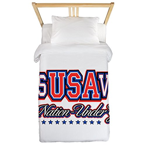 Twin Duvet Cover USA Jesus Saves Nation Under God by Royal Lion