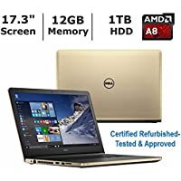 "Dell Inspiron 17 5755 17.3"" High Performance Laptop PC, AMD A8-7410 Quad Core Processor, 12GB RAM, 1TB HDD, Radeon R5 Graphics, DVD±RW, Backlit Keyboard, Windows 10-Gold (Certified Refurbished)"