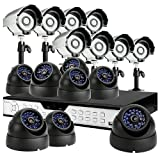 ZMODO 16CH H.264 DVR CCTV Security Surveillance System with 8 Bullet Night Vision Cameras and 8 Dome Indoor/Outdoor Security Cameras -No Hard Drive