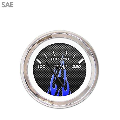 Black Modern Needles, Chrome Trim Rings, Style Kit DIY Install Aurora Instruments 3643 Carbon Fiber Blue Flame SAE Water Temperature Gauge