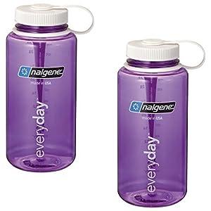 Nalgene 32oz Wide Mouth Purple / White Lid - Everyday Bottle (Tritan) - 2 Pack